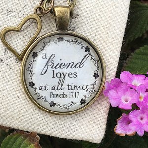 Proverbs 17:17 Friend Loves at All Times Pendant Necklace - Redeemed Jewelry
