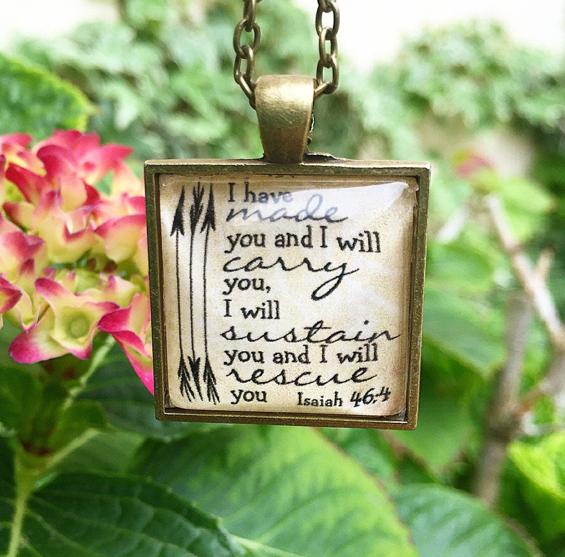 Bible Verse pendant Necklace Isaiah 46:4 - Redeemed Jewelry