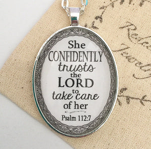 "Bible Verse Pendant Necklace ""She confidently trusts the Lord to take care of her. Psalm 112:7"" - Redeemed Jewelry"