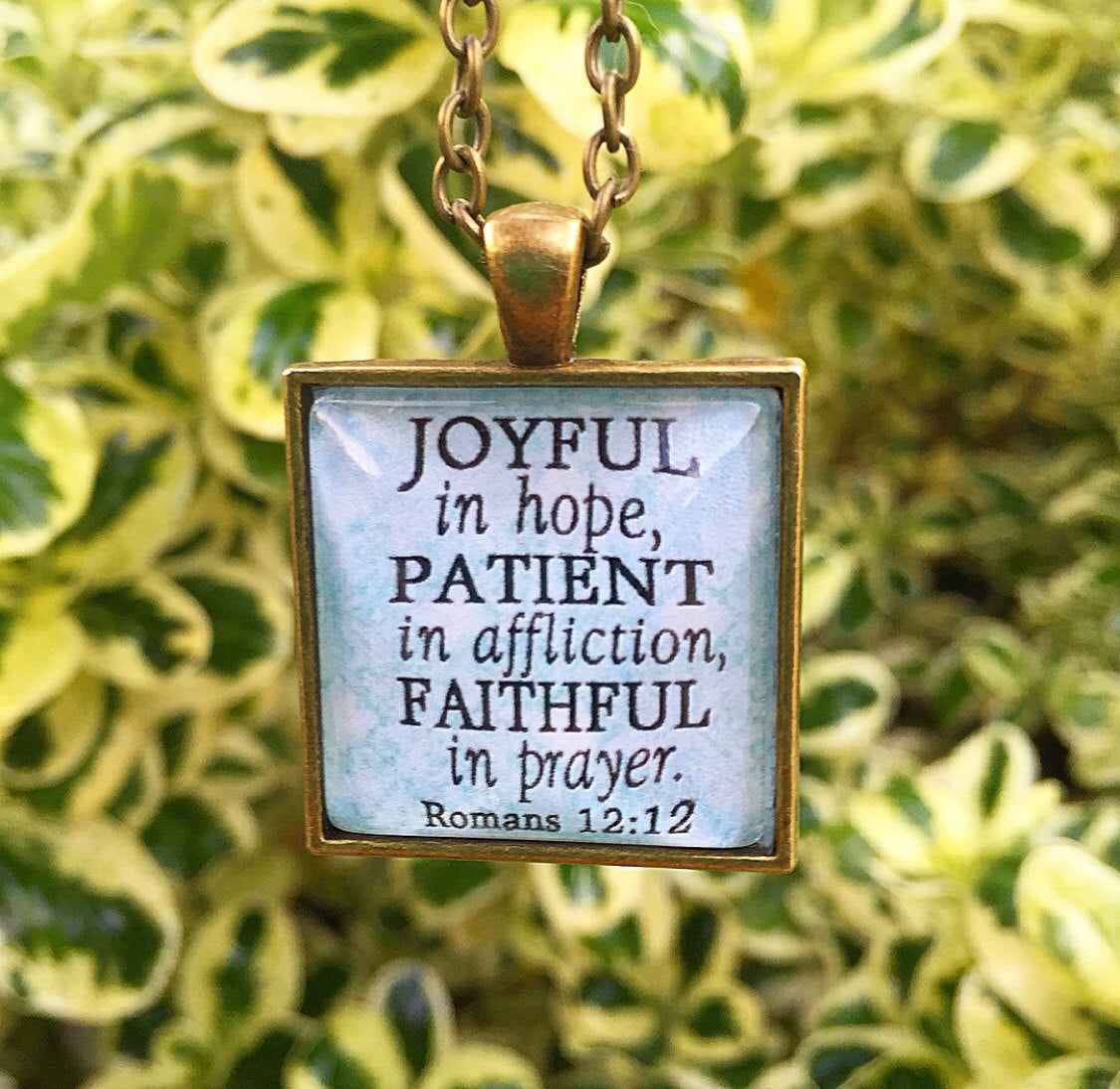Joyful in hope, patient in affliction, faithful in prayer. Romans 12:12 Necklace - Redeemed Jewelry