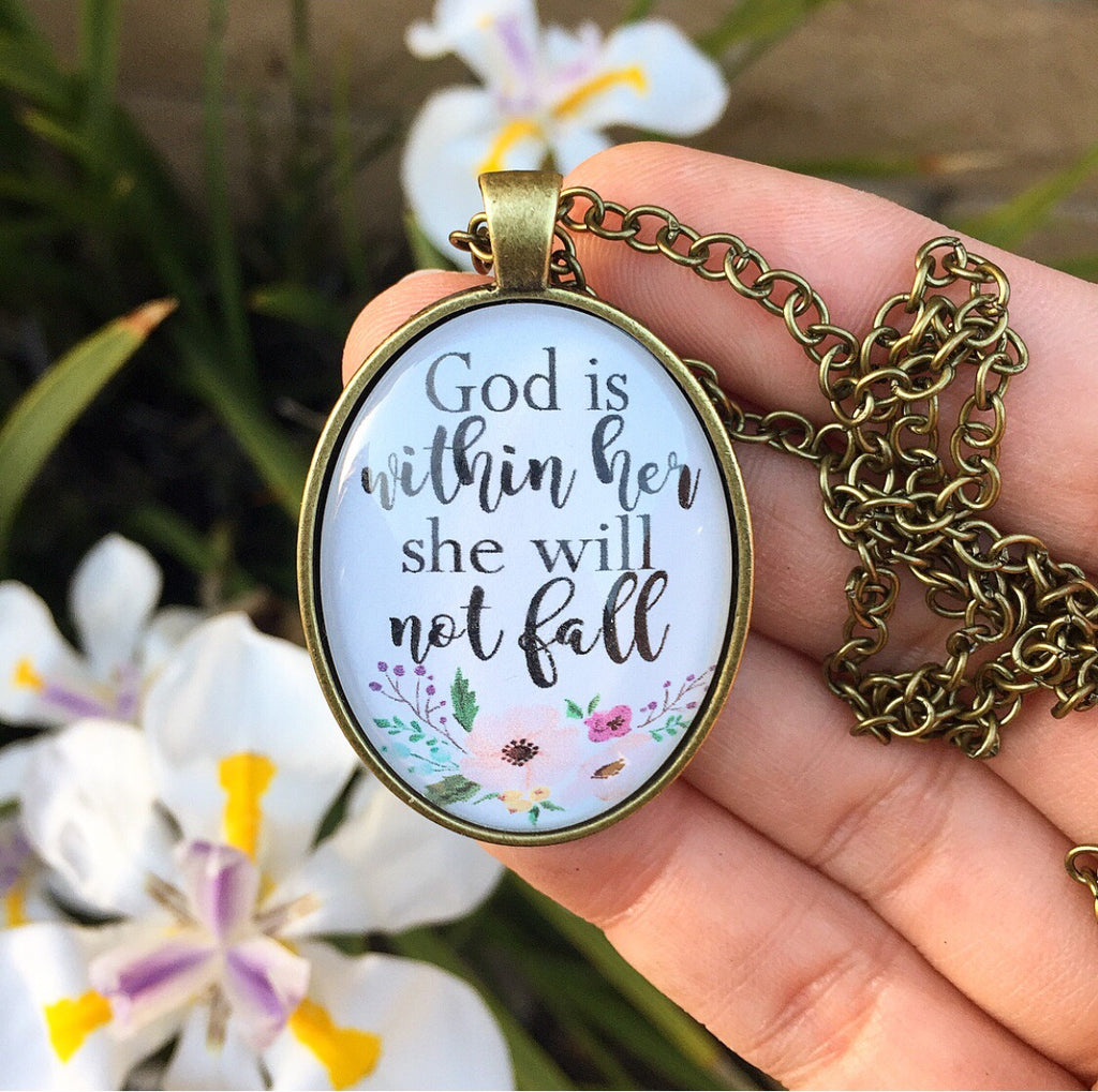 God is within her, she will not fall Necklace - Redeemed Jewelry