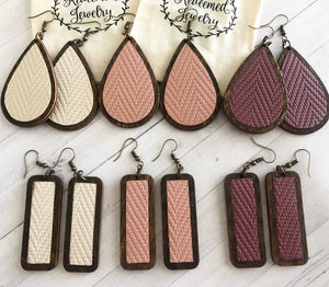 Leather Wooden Teardrop & Rectangle Earrings