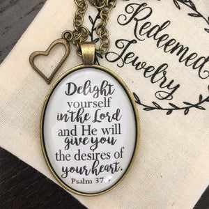 Delight Yourself in the Lord Psalm 37:4 Necklace - Redeemed Jewelry