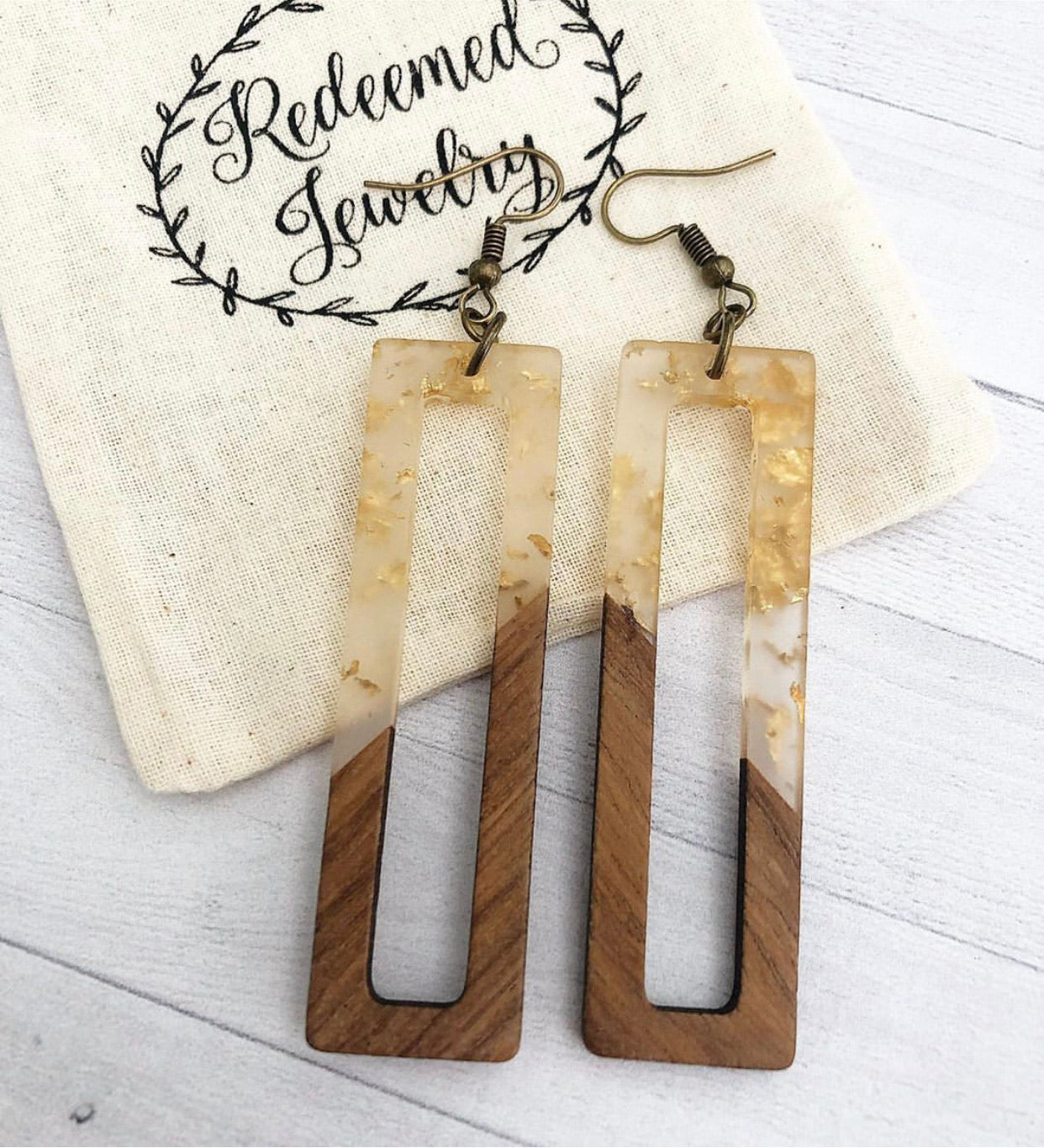 Gold-flecked Resin and Wood Rectangle Earrings
