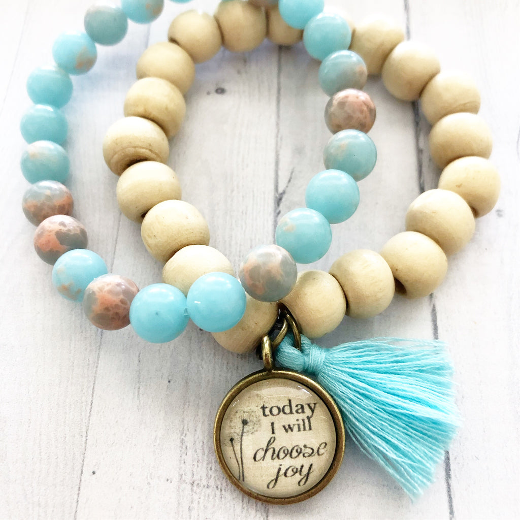 Choose Joy White Wood Bead Bracelet STACK