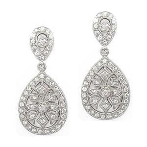 Lightweight sterling silver boho vintage drop cz earrings