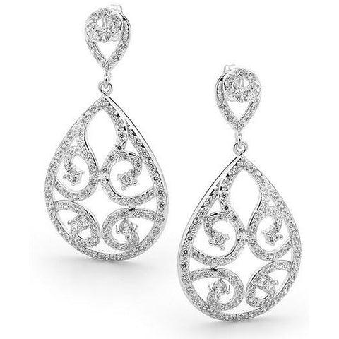 Sparkling cubic zirconia formal event bridal earrings