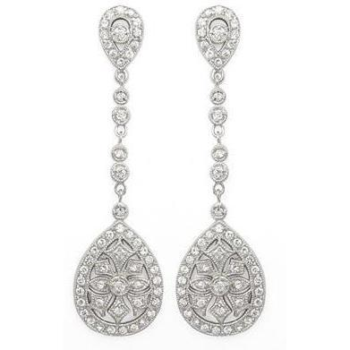 boho wedding vintage detailed sparkling earrings