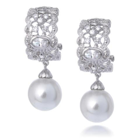 Pearl art deco wedding bridal silver earrings