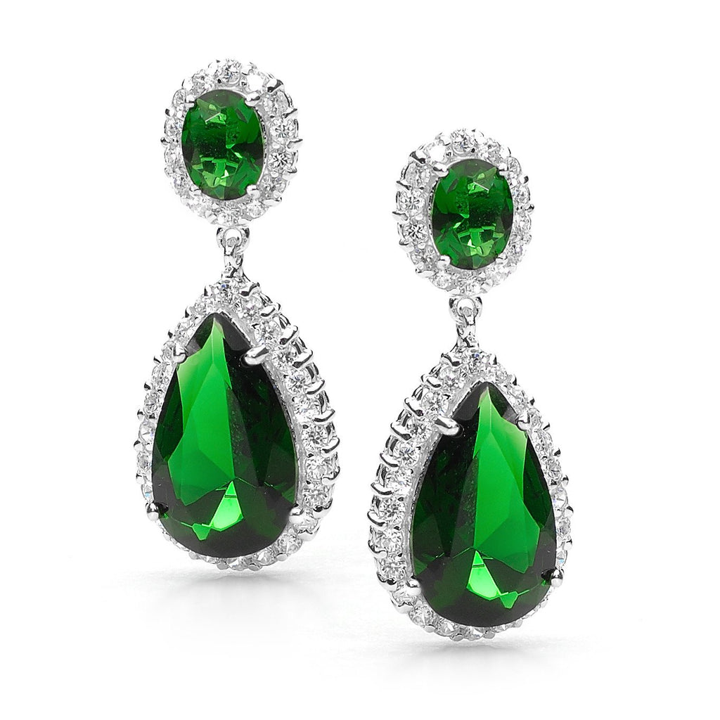 SCARLETT STERLING SILVER TEARDROP EARRINGS EMERALD -  E13