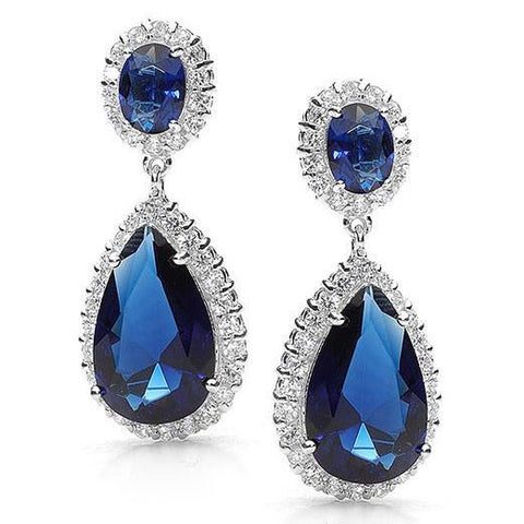 E15 Scarlett  Sterling Silver Teardrop Earrings Sapphire