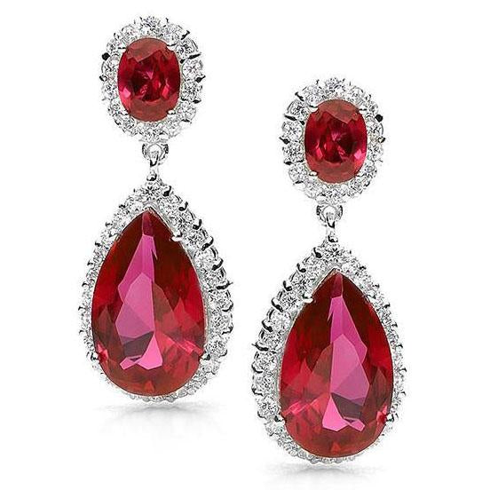 E16 Scarlett  Sterling Silver Teardrop Earrings Ruby