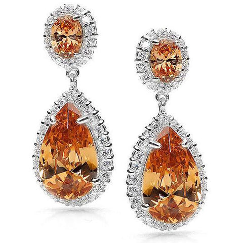 E17 Scarlett  Sterling Silver Teardrop Earrings Cognac