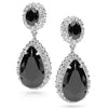 E19 Scarlett  Sterling Silver Teardrop Earrings Black Onyx