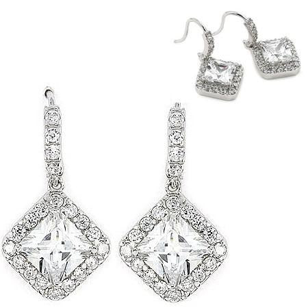 E39 Anastasia Diamond 925 Sterling Silver Drop Earrings