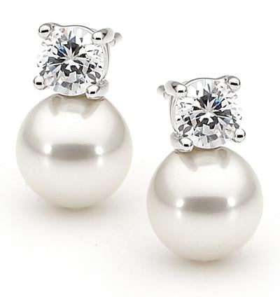E44 Ange White 925 Sterling Silver Pearl Earrings