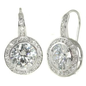 E47 Natalie Deco Circle 925 Sterling Silver Earrings Clear