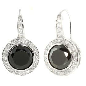 E48 Natalie Deco Circle 925 Sterling Silver Earrings Black Onyx
