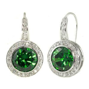E49 Natalie Deco Circle 925 Sterling Silver Earrings Emerald