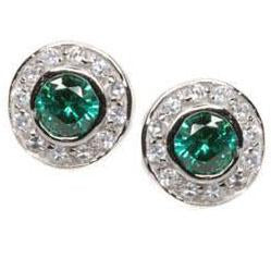 E51 Katie Circlet 925 Sterling Silver Stud Earrings Emerald