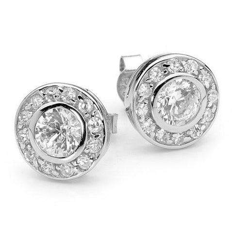 E52 Katie Circlet 925 Sterling Silver Stud Earrings Clear