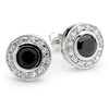 E53 Katie Circlet 925 Sterling Silver Stud Earrings Black Onyx
