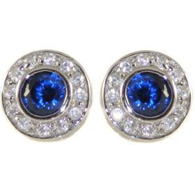 E55 Katie Circlet 925 Sterling Silver Stud Earrings Sapphire