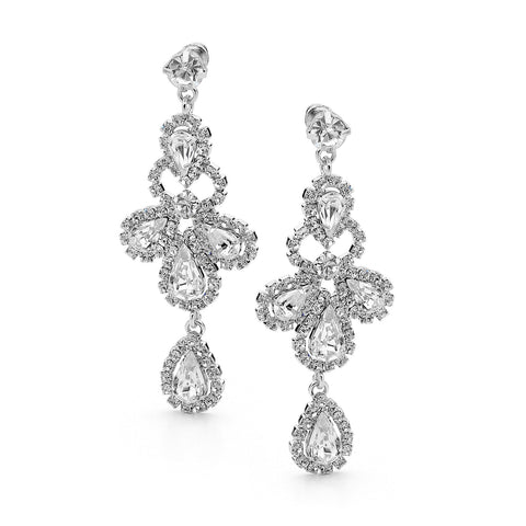 E58 Gladiator Bridal Swarovski Earrings Silver