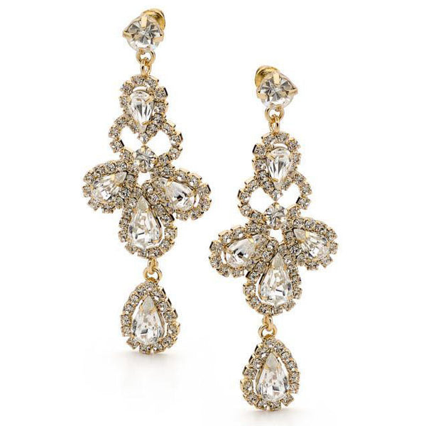 E59 Gladiator Bridal Swarovski Earrings Gold