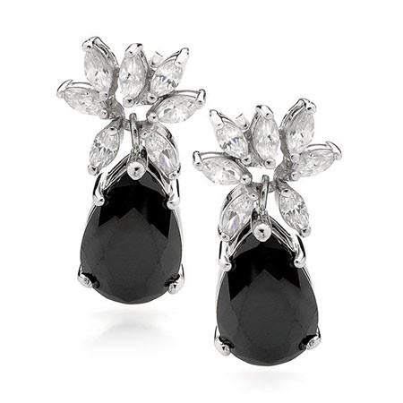 E60  Lea Black Onyx 925 Sterling Silver Earrings