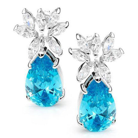 E61  Lea  925 Sterling Silver Earrings Tiffany Blue