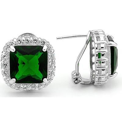 E66 Georgiana 925 Sterling Silver Earrings Emerald