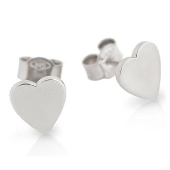 E78 925 Sterling Silver Highly Polished Heart Stud Earrings