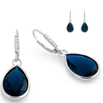 E79  Princess Mary Teardrop 925 Sterling Silver Earrings Sapphire