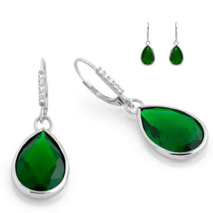 E80  Princess Mary Teardrop 925 Sterling Silver Earrings Emerald