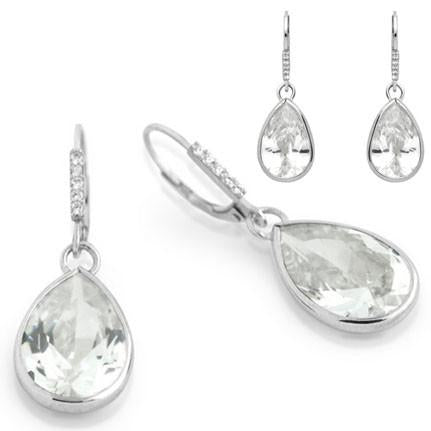 E81  Princess Mary Teardrop 925 Sterling Silver Earrings Clear