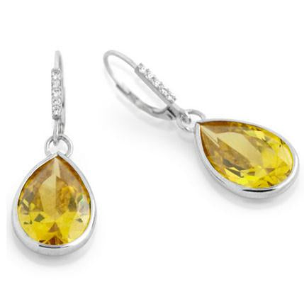 E82 Princess Mary Teardrop 925 Sterling Silver Earrings Canary