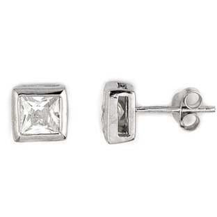 E84 Bezel Set 7.5mm Princess Square Cut 925 Sterling Silver Stud Earrings
