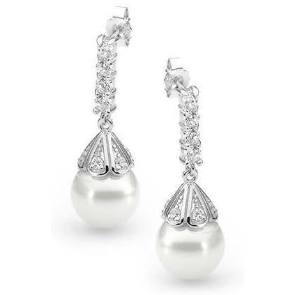 E8 Hope Vintage Sterling Silver Pearl Earrings White