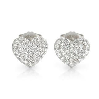 E92 Pave Heart Earrings Cubic Zirconia 925 Sterling Silver
