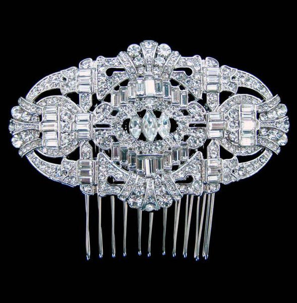 H10 Large Art Deco Vintage Crystal Convertible Brooch Hair Comb
