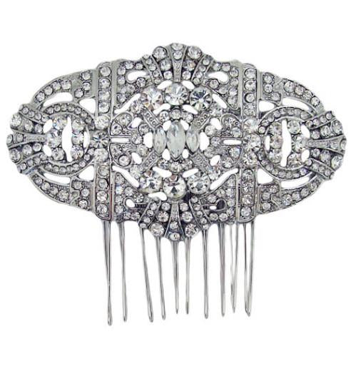 H11 Deco Vintage Crystal Convertible Hair Comb Brooch Standard