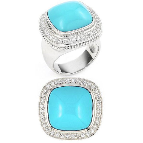 Lea's Turquoise 925 Sterling Silver Golden Globe Cocktail Ring - R39
