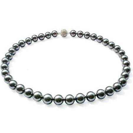 N6 Bridal South Sea Shell Pearl Necklace Tahitian Grey