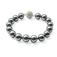 B6 Tahitian Grey South Sea Shell Pearl Bracelet