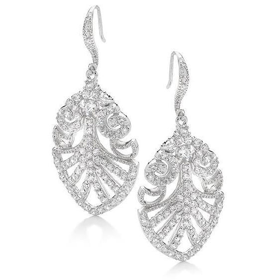 E29 Bling Vintage Leaf 925 Sterling Silver Earrings
