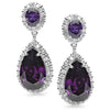 E18 Scarlett  Sterling Silver Teardrop Earrings Amethyst