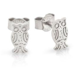 E77 925 Sterling Silver Highly Polished Owl Stud Earrings