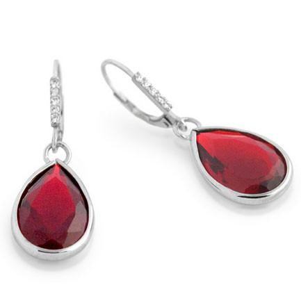 E83 Princess Mary Teardrop 925 Sterling Silver Earrings Ruby