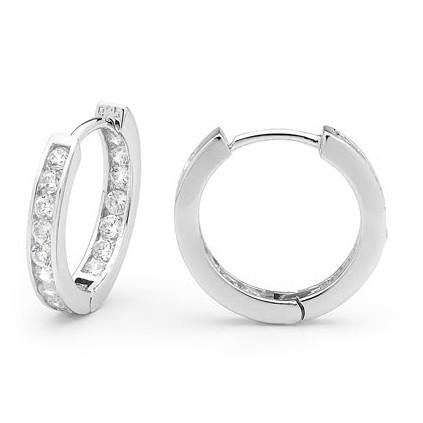 R23 Channel Set 925 Sterling Silver Huggie Earrings